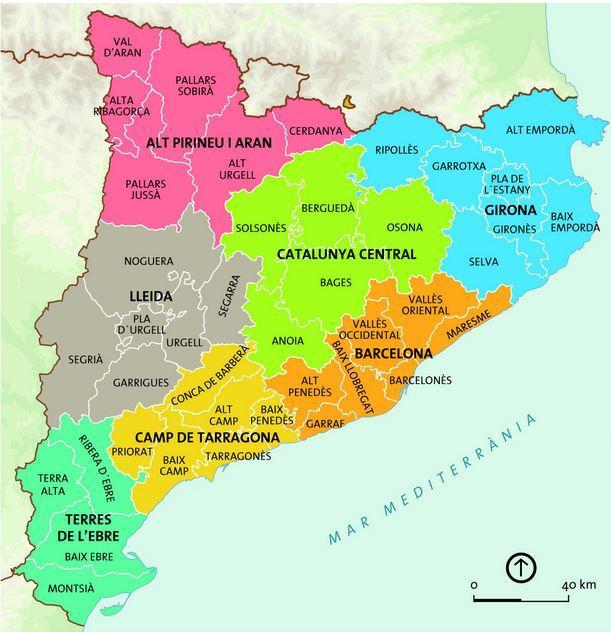 Spanien Katalonien Karte.Barcelona Region Map Karte Von Barcelona Region