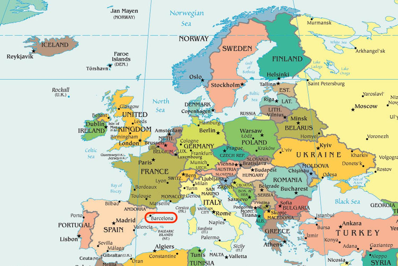 Spanien Katalonien Karte.Barcelona Karte Europa Karte Von Spanien Zeigt In