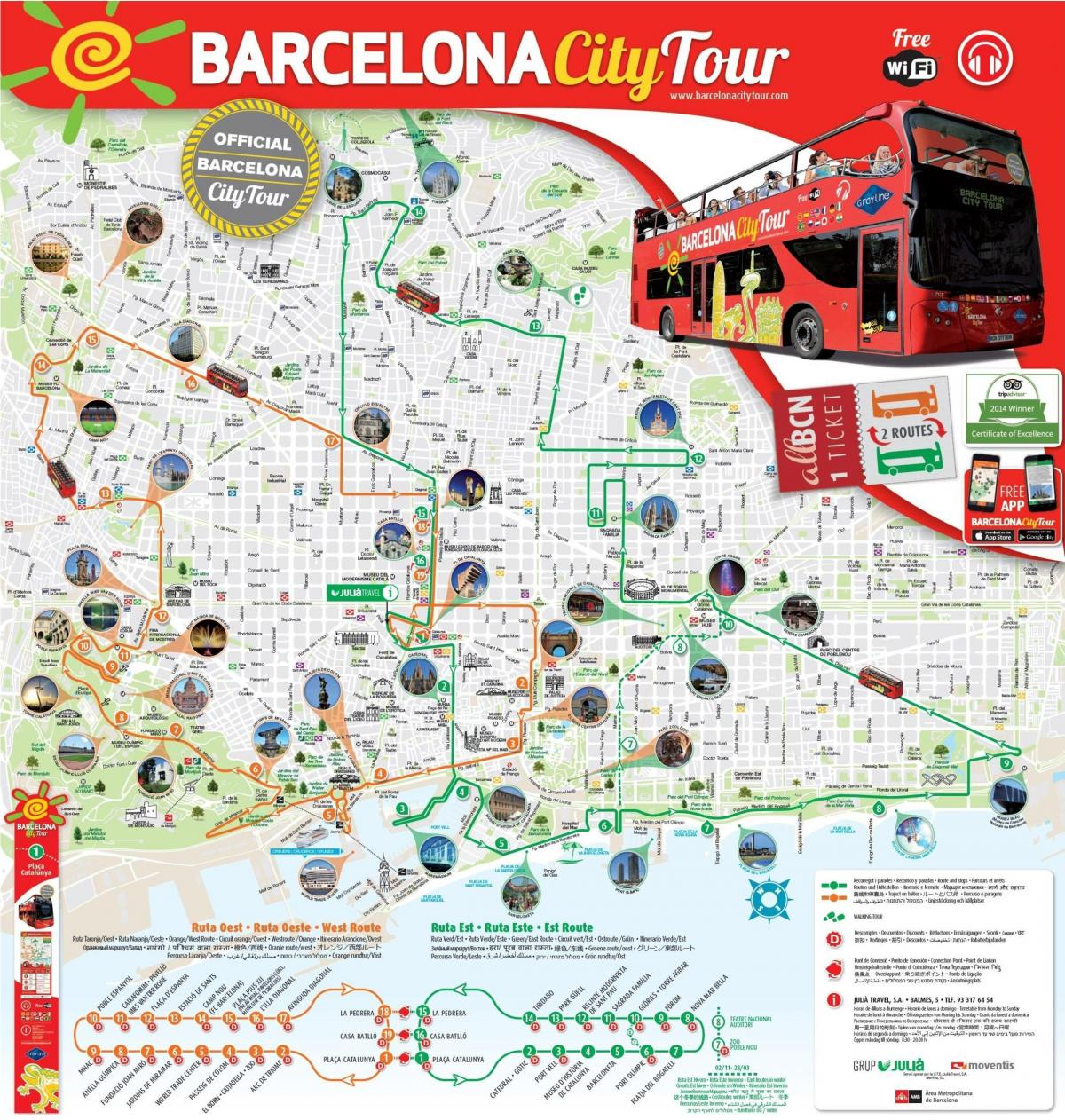 red bus tour barcelona Karte