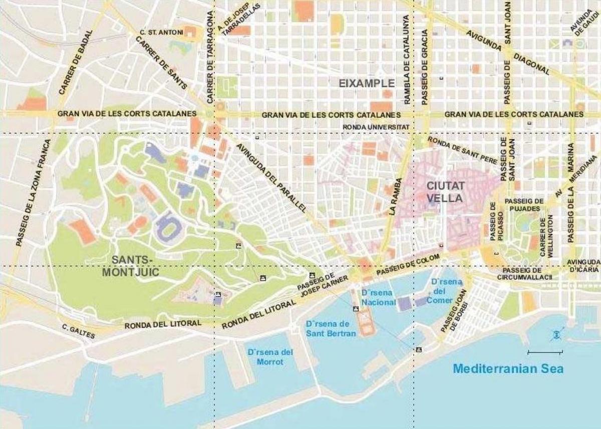 Spanien Katalonien Karte.Einfache Karte Von Barcelona Karte Von Barcelona Einfach